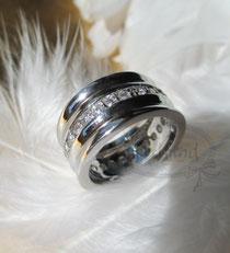 Finger Schmuck Silber Zirkonia breit