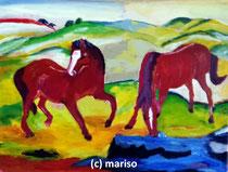 Zwei Pferde nach Franz Marc