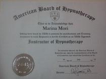 米国催眠療法協会(ABH)のセラピスト認定証