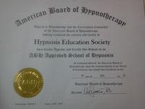 米国催眠療法協会(ABH)のインストラクター認定証