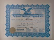 米国催眠士協会(NGH)のインストラクター認定証