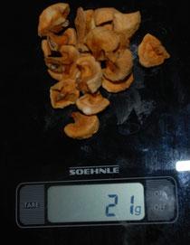 klein geschnittener Apfel am neunten Tag