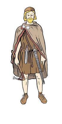 Ein Mann aus der Bronzezeit. Illustration von Niels Schröder für das Neue Museum Berlin. © Niels Schröder