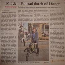 """""""Mit dem Fahrrad durch elf Länder"""" (Wiesbaden Kurier, Wiesbadener Tagblatt, Ausgabe 09.04.2014)."""
