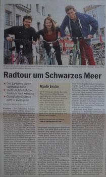 """""""Radtour um Schwarzes Meer"""" (Südkurier, Ausgabe 24.03.2014)."""