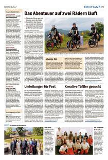 """""""Das Abenteuer auf zwei Rädern läuft """" (Südkurier, Ausgabe 23.05.2014)."""