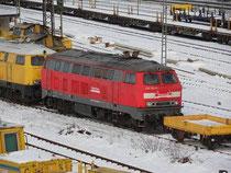 218 261-6 im Gleisbauhof in                    Duisburg Wedau (heuteDBG)