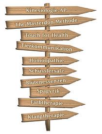 Kinesiologie AP The Masterdon Methode Touch for Health Tierkommunikation Homöopathie Schüsslersalz Blütenessenzen Spagyrik Farbtherapie Klangtherapie