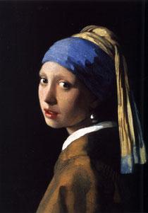 Johannes Vermeer (cf.La Laitière), La jeune fille à la perle, huile sur toile, 45x40cm,1665.