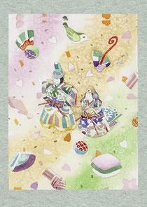 和風イラスト「ゆめあそび」水彩画・福井良佑