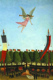 「第22回アンデパンダン展に芸術家たちを参加するように招く自由の女神」1906年アンリー・ルッソー 東京国立近代美術館所蔵