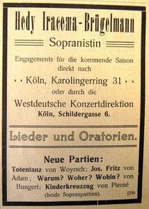 Künstleranzeige, Juni 1908 (Rheinische Musik- und Theaterzeitung)
