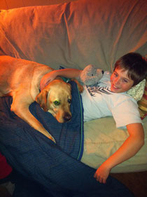 Buddy the Dog with Jacob.