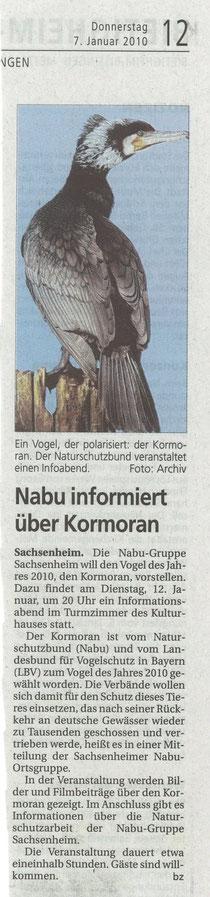 BZ am 7. Januar 2010 ankündigung Infoabend mit Thema Kormoran als Vogel des Jahres