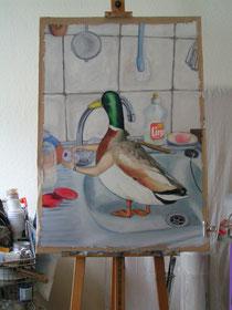 frau jenson, Erpelbad - work in progress , Öl auf Papier ca. 70 x 90 cm