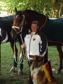 Hanne Strübel, Sam und Fips bei der EM 2003 in Saumur