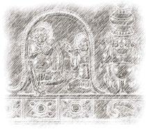台座に描かれた異形像