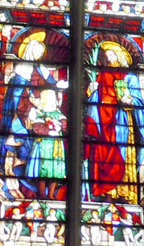 Vitrail renaissance représentant le martyr St.Nazaire, patron de la basilique de la cité de Carcassonne/Aude