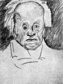 Charlotte Pauly, Gerhart Hauptmann, Kaltnadelradierung von 1967 nach einer im April 1946 gemachten Zeichnung