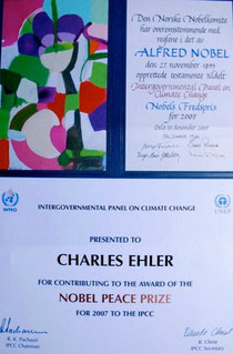 IPCC Award to CNE for his Contribution to IPPC's Nobel Peace Prize, 2007