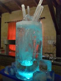 Eisskulptur Partydekoration Longdrinkglas