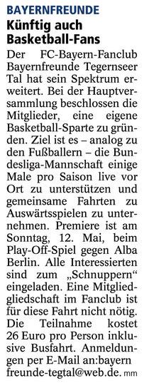 Artikel des Miesbach Merkur vom 3.5.2013 - Es gibt noch ein paar wenige Karten, wer noch keine hat, sollte zugreifen - einfach Mail an Michael Jacobi