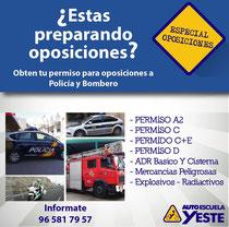 Oposiciones villena, carnet, bombero, policida, ADR , oposicion