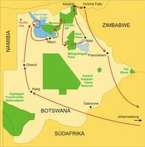 Botswana Safaris - von Johannesburg bis Viktoriafälle