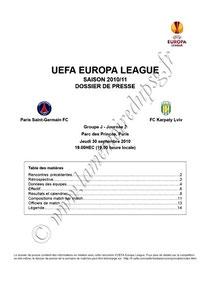 2010-09-30  PSG-Karpaty Lviv (2ème poule C3, Dossier de presse)