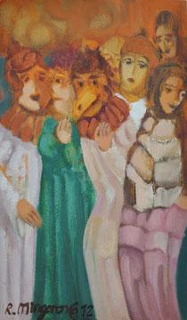 Cabezudos y otros semidisfrazados -  17,1 x 29,1 cm - óleo Guillermo R. Mingorance