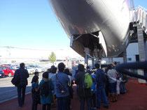 航空科学博物館での機体の見学