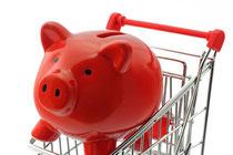 Mini-Einkaufswagen mit rotem Sparschwein darin