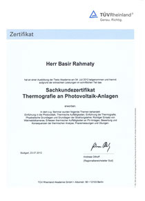 Sachkundezertifikat Thermografie an Photovoltaik