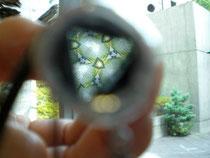 テレイドスコープを覗くと・・外の景色が万華鏡になります