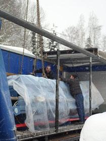 Gut verpackt im Schneesturm