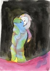 Schlangenbändigerin Aquarell
