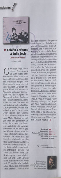 CD - Rezension von Florian Guttmann, TangoDanza 2/2020