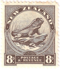 8d.'Tuatara',New Zealand's largest lizard, Designed by L C Mitchell. Stamp size 25 x29mm.