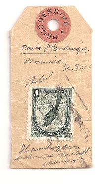 1941 1/- used on small parcel tag/label.