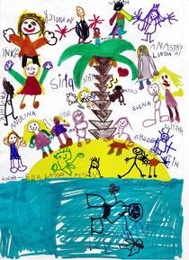 Dieses Bild wird das Cover zieren, hier haben sich alle Kinder selbst auf die Schatzinsel gemalt.
