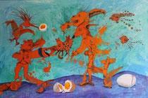 """Bühne frei! Seelen- Ei"" Acryl auf LW 120x80 (2012)"