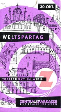 Sparkassenbuch/Sparbuch-Hülle der Zentralsparkasse Wien. Weltspartagsgeschenk? 1959.