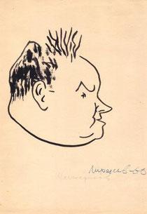 Горьковский поэт Михаил Шестериков. Дружеский шарж художника Лиходеева. 1966 год
