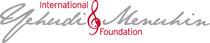 Logo der International Yehudi Menuhin Foundation. Sie wurde 1991 vom großen Geiger, Musiker und Humanisten Yehudi Menuhin in Brüssel gegründet.