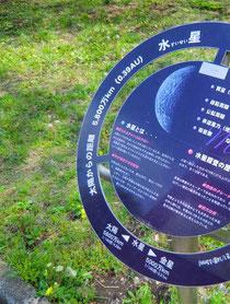 ▲水星の14億分の1の模型(太陽系ウォーキング)
