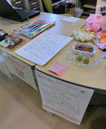 ●情報コーナーのテーブルの上にスタンプを発見!となりには、なぜか府中出身の澤穂希さんが載っている雑誌も