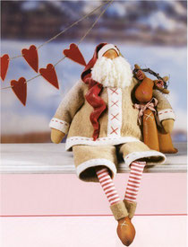 Тильда Санта тряпичная кукла