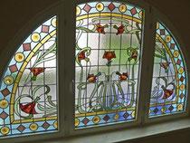 Bleiverglasung restauriert + in das Isolierglas eingebaut