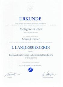 Urkunde Maria Geißler Landessiegerin