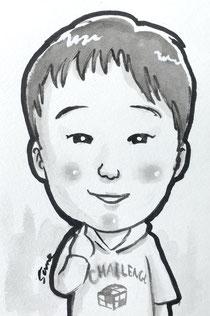 手描きのモノクロ似顔絵 子供 男の子